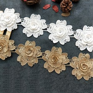 Wholesale Sale by Yard D Golden metallic thread flower high quality embroidery Lace Fabric Sewing costumes DIY Lace Trim H008