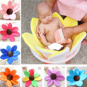 80cm Baby Infant Lotus Petal Non-slip Bath Shower Mat Newborn Foldable Soft Bath Tub Pads Gift for Kids Multicolor