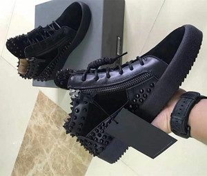 Wholesale 2018 New Italian brand designer top men women Zapatillas guiseppes real leather rivet recreational Casual shoe arena sneakers