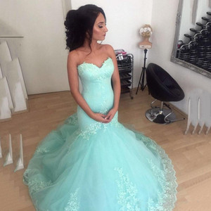 Wholesale Mint Green Sweetheart Prom Dresses With Lace Applique Sleeveless Mermaid Bridal Gowns Back Lace up Sweep Train Custom Made Evening Gowns