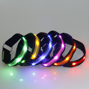 Wholesale Nylon Pet LED Dog Collar Light Night Safety Anti lost Flashing Glow Collars Dog Supplies colors S XL Size for Small dogs Cat
