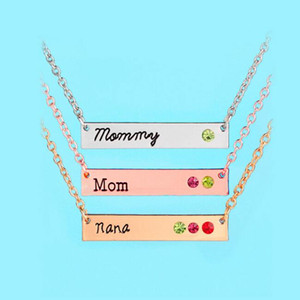 Wholesale gold mommy for sale - Group buy Mommy Mom Nana Necklace Crystal Birthstone Horizontal Bar Necklaces silver rose gold Chain for Women Family Member Jewelry Styles