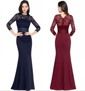 Wholesale Red Wine Mermaid Long Evening Dresses Satin Lace O Neck Zipper Up Floor Length Vestidos Noche Prom Gowns DH4077