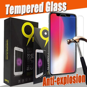 Wholesale 9H Premium Clear Transparent Tempered Glass Screen Protector Guard For iPhone Pro Max XS XR X Plus SE Anti shock Have Package