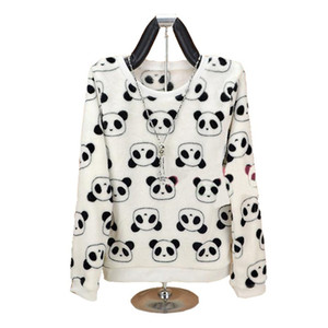 Fashion Brand Harajuku Cute Panda Hoody Sweatshirt for Women High Quality Flannel Pullover Tops