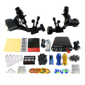 Wholesale Pro Complete Tattoo Machine Kit Set Rotary Tattoo Machine Gun Power Supply Needles Grips Tips Footswitch For Body Art
