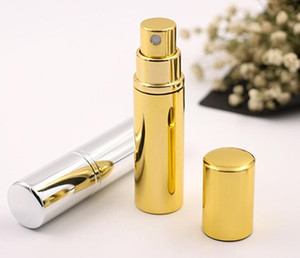 Wholesale Brilliant Gold Silver 5ml Refillable Portable Mini perfume bottle &Traveler Aluminum Spray Atomizer Empty Parfum Spray Atomizer Container