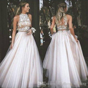 Two Pieces Prom Dresses Jewel Neck Beaded Sexy Open Back Long Homecoming Dresses For Teens Bridesmaid Dress Custom Made Formal Evening Gowns