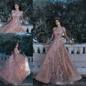 Wholesale 2019 Vintage Blush Champagne D Floral Applique Evening Pageant Dresses Modest Dubai Arabic Spaghetti Beaded Crystal Occasion Prom Gowns