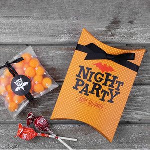 Wholesale cookies decor resale online - Halloween Candy Gift Box Cartoon Candy Small Gift Pillow Box Cookie Chocolate Gift Box For Party Decor styles