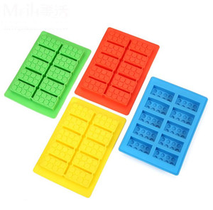 Wholesale diy rubber block resale online - Silicone Brick Style Freezer Ice Cube Tray Ice Mold Maker Bar Party Drink DIY Building Block Sharped Ice Tray SN1208