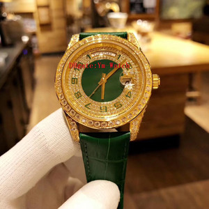 Wholesale Luxury Watch Best Quality Full Diamond Automatic Movement MM Gold Watch Men Silver Waterproof Stainless Steel Leather Strap