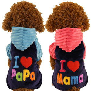 Wholesale papa clothing for sale - Group buy New Love Mama Papa Clothing Dogs Pink Blue Winter Warm Pets Cats Costumes Products For Yorkie Terrier Dachshund Promotion
