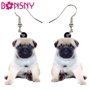 Wholesale Statement Acrylic Sweet Pug Dog Puppy Earrings Dangle Drop Cute Animal Jewelry For Women Girls Teens Gift Novelty Charms