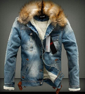 Wholesale Winter clothing Men s Jean Jacket Warm Denim Thick Outwear Fur Collar Hot Cowboy Coat Overcoat Parkas New