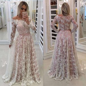 Wholesale Arabic White Lace Pink Lining Off the Shoulder Prom Dresses Beaded Sheer Long Sleeves Plus Size A Line Evening Dresses Custom Made