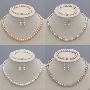 8-9mm Natural Akoya Cultured Pearl Necklace + Bracelet + Earrings Jewelry Set Seller informati on Sale
