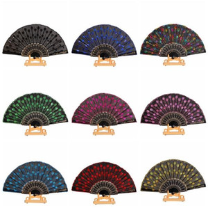 Wholesale Chinese Folding Peacock Hand Fan Bead Fabric Decor Colored Embroidered Flower Pattern Black White Cloth Folding Hand Fan