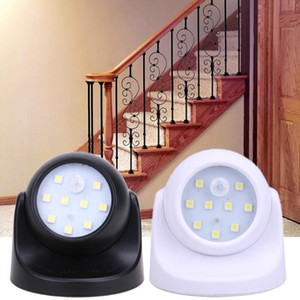 Wholesale 9 LEDs Degree Rotation Motion Wall Light Sensor Night Light Battery Operated Corridor Wall Night Light For Closet Garages Hallway