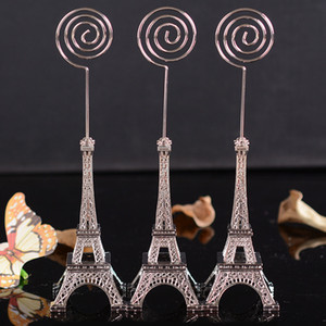 Wholesale Paris Eiffel Tower Message Board Clip Place Name photo Business Card Holder Wedding Birthday Party Decoration