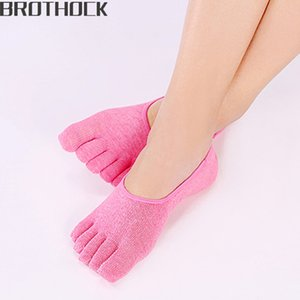 Brothock Summer ladies thin invisible socks Korean five-toed cotton socks non-slip silicone women boat five-finger