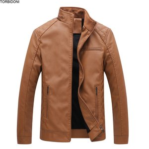 Wholesale Men Fleece PU Leather Jacket New 2018 Winter Casual Men Jackets Solid Coats Fashion Elastic Motorcycle Outerwear Jacket 5XL 6XL
