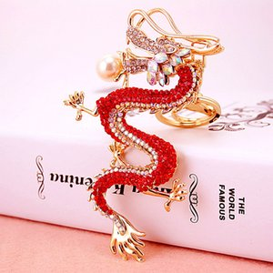 Wholesale Good Luck Chinese Dragon Keychain Blingbling Loong Luxury Womens Keychains Bag Charm Jewelry Car Key Chain Holder Party Gift