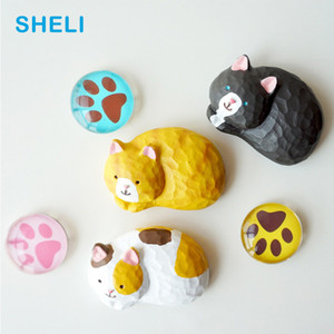 Japan Cat fridge magnets Zakka Animal whiteboard sticker Refrigerator Magnets Kids toy gifts Home Decoration Free shipping