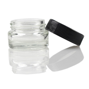 Hot sell 5ml Glass Container Wax Dab Jar Dry Herb Container with Black Lid fit for thick oil vape cartridge