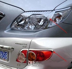 Wholesale toyota corolla car cover resale online - High quality ABS with Chrom car headlamp decoration cover trim frame taillight cover trim front fog lamp cover for Toyota corolla