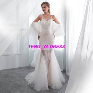 2018 Sexy Glaring Embroidery Beaded Jewel Floor Length Ivory Court Train A Line Spaghetti Wedding Dresses E006 on Sale