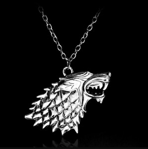 Wholesale 6Pcs Game of Thrones necklace House Stark Winter Is Coming Metal Family Crest Pendant Jewelry Souvenirs Gift Maxi Wolf Punk Men