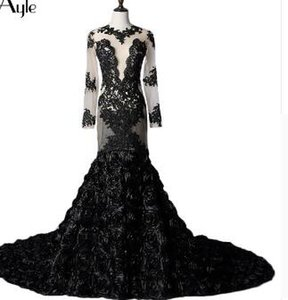 SoAyle Mermaid Long Sleeves Black Lace Rose Real Photo Evening Dresses Open Back Tulle Sexy Vestidos De Festa Robe De Soiree