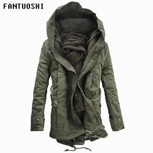 Wholesale 2018 New Men Padded Parka Cotton Coat Winter Hooded Jacket Mens Fashion large size Coat Thick Warm Parkas Black army green XL