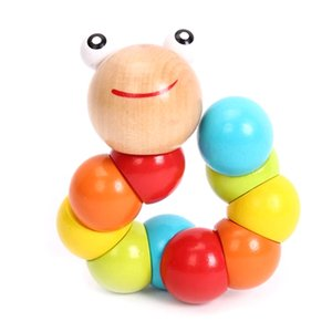 Wholesale DIY Baby Kids Candy Color Flexible Twisting Caterpillar Wooden Toy Infant Educational Developmental Insects Puzzles Kids Fingers Gift
