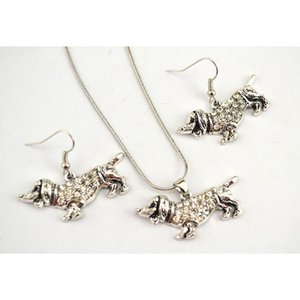 Wholesale Antique Silver Plated Zinc Dachshund Cute Dog Animal Charm Pendant Snake Chain Studded With Crystals Stone Necklace Earring Set