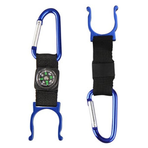 Wholesale 5 Black Carabiner Water Holder Bottle Clip Strap W Compass Camp Hiking Outdoor