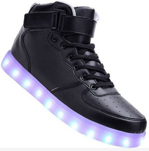 Wholesale METALLIC black white red sliver dance LED LUMINOUS SHOES GOLD High Top Men Force light up white sneaker USB A0123