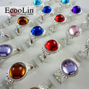Mixed Color Silver Plated Crystal Ring For Children Boys Girls Kids Wholesale Jewelry Lots Free Shipping LR270