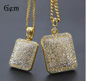 Wholesale Mens Hip Hop Gold Chain Fashion Jewelry Full Rhinestone Pendant Necklaces Gold Filled Hiphop Zodiac Jewelry Men Cuban Chain Necklace Dog Tag