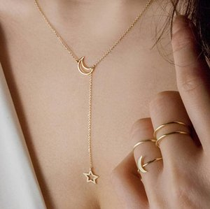Sale Dubai New Fashion Women Jewelry Simple Moon Star Necklace Gold Pendant Necklace Wedding Jewelry Accessories