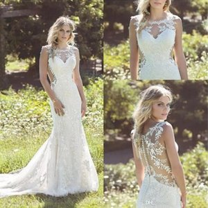 Wholesale Ivory Elegant Mermaid Full Lace Wedding Dresses Jewel Neck Sleeveless Bridal Gowns Sexy Illusion Bodices Cutaway Sides Bridal Dresses