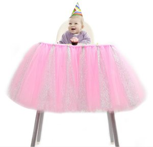 Tulle Table Skirts High Chair Decor Baby Shower Decorations for Boys Girls Party Set Birthday Party Supplies