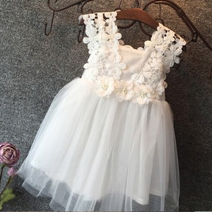 Wholesale girls party dresses resale online - Vieeoease Girls Dress Flower Kids Clothing Summer Fashion Sleeveless Vest Lace Tutu Princess Party Dress KU