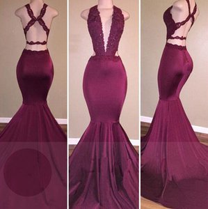 Wholesale Hot Sexy Lace Mermaid Prom Dresses Open Back Low Cut Neckline Party Dresses Appliques Beads Evening Gowns Real Photos Women Formal Gown