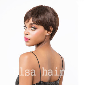 Wholesale chic wigs for sale - Group buy Short Human Hair Wigs For Black Women Full Lace Front Wig none lace bob human short pixie hair wig machine made Rihanna Chic Cut Wig