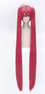 Wholesale Details about Fashion Cherry Red Straight Wigs Long Split Double Tail Anime Cosplay Wigs