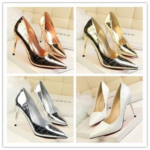 Wholesale Gold Champagne White Silver High Heel Evening Shoes Stiletto Heel Pointed Women Evening Party Prom Shoes Night Club Shoes Cheap
