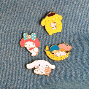 Wholesale Enamel Moon Bear Rabbit Brooch Pins Lapel Pins Badge Fashion Jewelry for Women Men Kids Christmas Gift Drop Ship