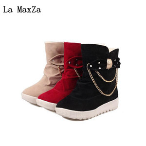 Wholesale La MaxZa Autumn Winter New Thick Bottom Wedge Women s Cotton Boots Plus Velvet Thick Bow Metal Decorative Ankle Warm Snow Boots